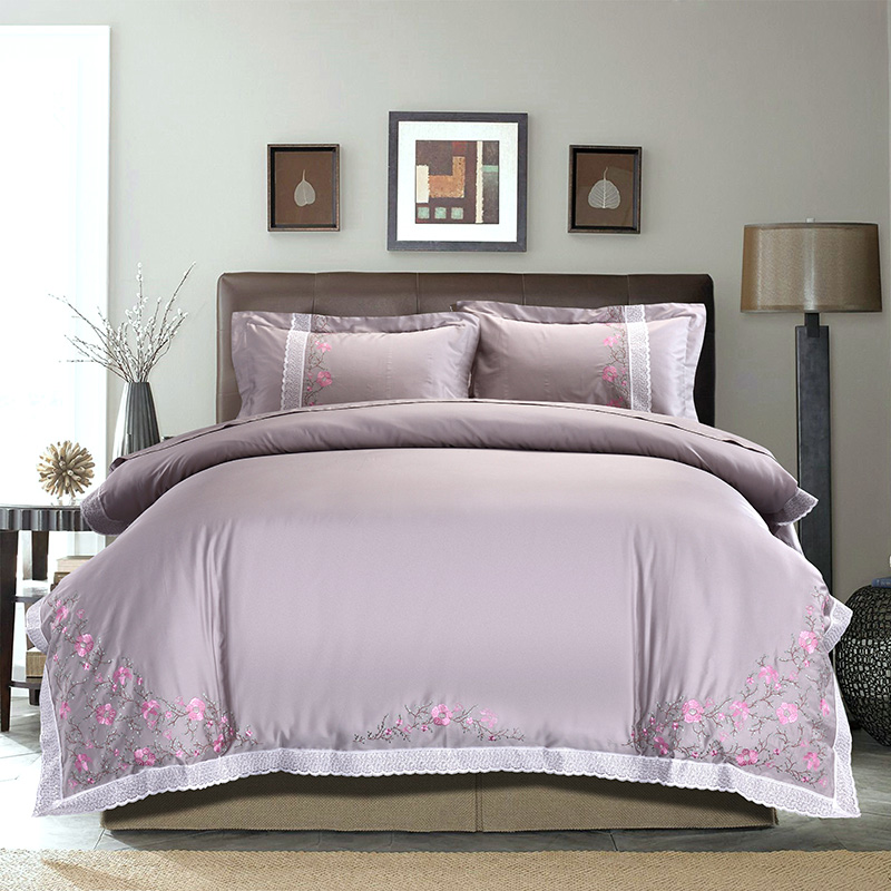 4 Pcs Oriental Embroidery Luxury Egyptian cotton Bedding Sets King/Queen Size Bed set gray Duvet Cover /Pillowcases4 Pcs Oriental Embroidery Luxury Egyptian cotton Bedding Sets King/Queen Size Bed set gray Duvet Cover /Pillowcases