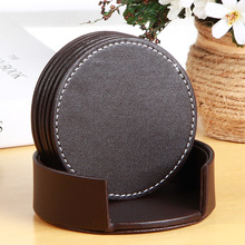 6pcs Coasters PU Leather Placemat Table Mats Cup Mat for Drinks with Holder Protect Your Furniture from Stains