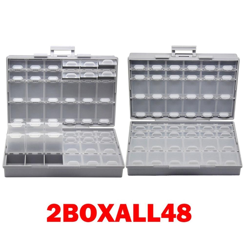 AideTek 2 корпуса поверхностного монтажа резистор конденсатор Электроника хранения ящики и органайзеры 0805 0603 пластиковые инструменты коробка 2 коробки - Цвет: 2BOXALL48