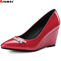 ASUMER Black Red Fashion Apring Autumn Women Pumps Pointed Toe Ladies Shoes Wedges Shoes Shallow Patent