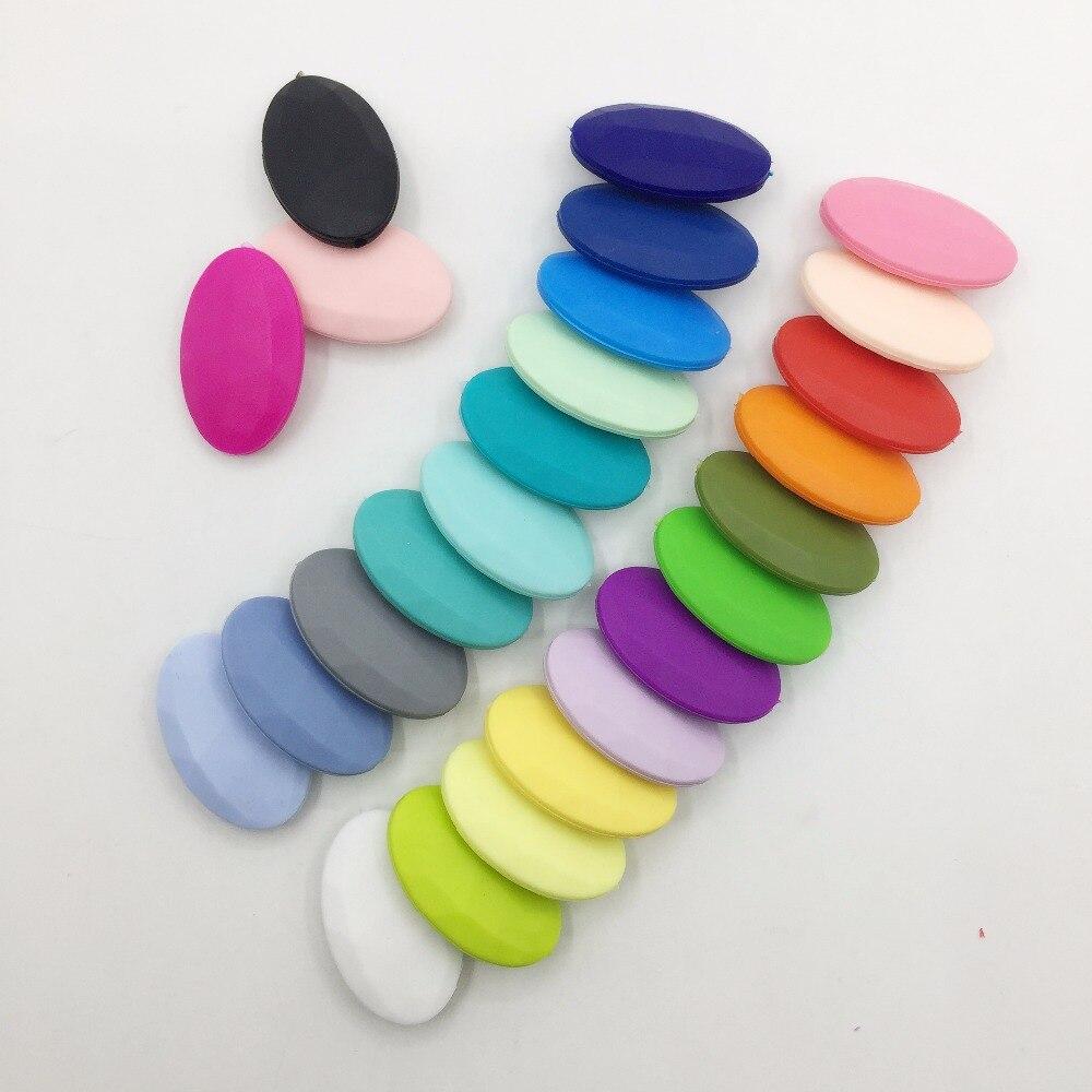 50 шт./лот плоские овальные свободные силиконовые Бусины для прорезывания зубов Цепочки и ожерелья силиконовые свободные Бусины для маленьких прорезыватель BPA бесплатно 19 цвет