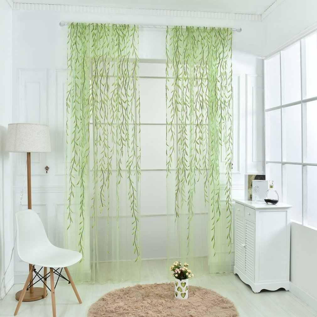נצרים קיזוז מודפס וילון מגניב חלון פסטורלי פרחוני וילונות חלון סלון מטבח טול דלת חלון וילונות