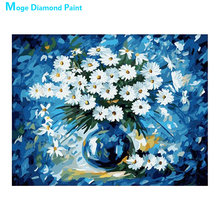 White flower blue vase Diamond Painting floral Rose Round Full Drill  5D Nouveaute DIY Mosaic Embroidery Cross Stitch home decor