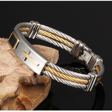 Misheng 2019 Mens Friendship Bracelet Stainless Steel Personality Jewelry Wire Braided Cross Wide Brand Accessories