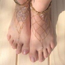 2 unids verano del estilo de Boho oro sandalias tobillera cadena Beach Barefoot Multi-layer ronda Net cadenas del pie dedo del pie la pulsera de la joyería