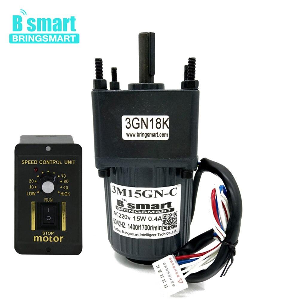 Bringsmart 3M15GN-C 220 V AC motoréducteurs 15 W Induction petite Machine 10/20/30/50/100/150/200/300/500 rpm monophasé moteur à courant alternatif