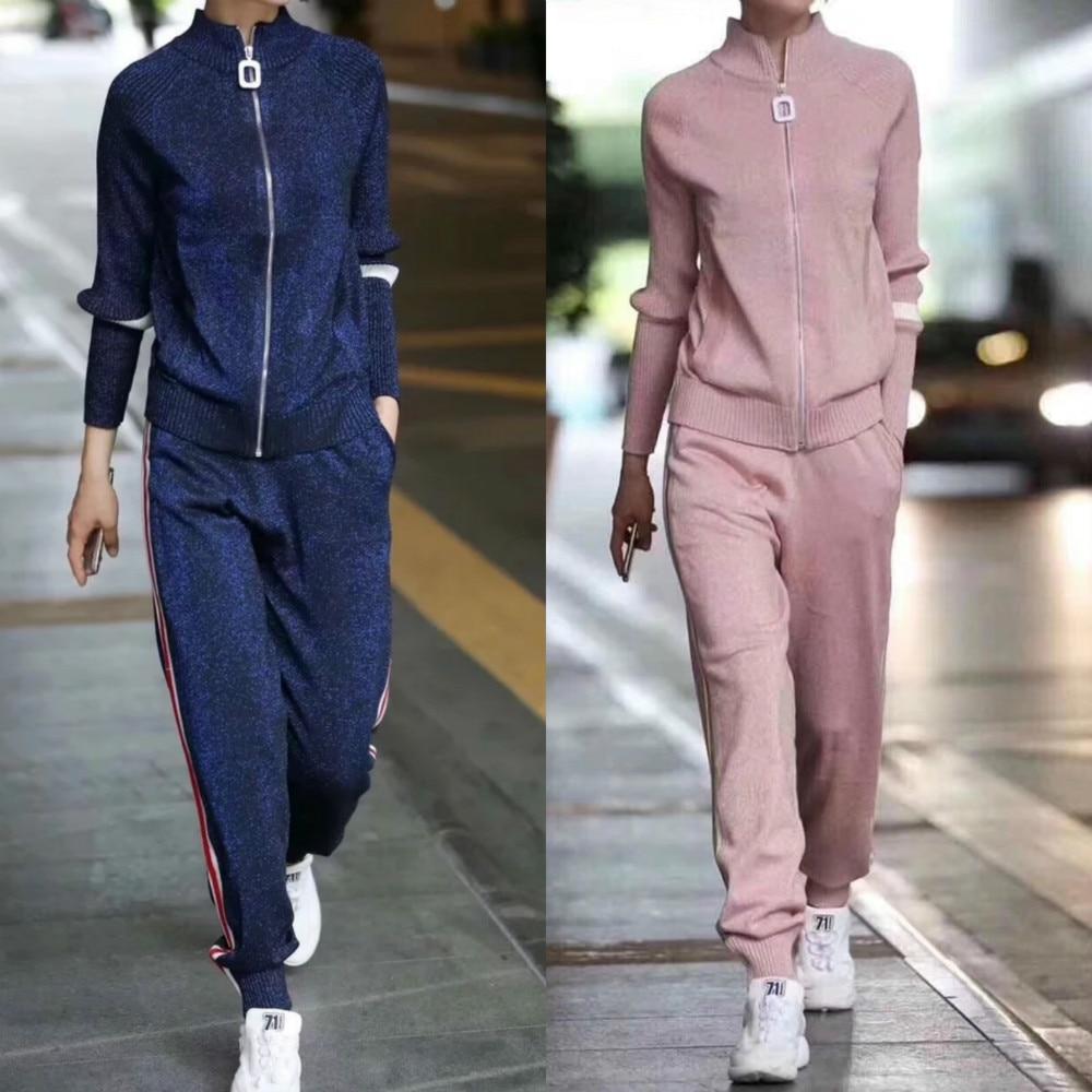 Survêtements Automne Costumes kaki Pantalon 2 Cardigan Ensemble Vêtement Survêtement Pièces Ensembles Femme noir Blue En Femmes Pour Rayé Pink dark Côté Décontracté Tricot 2019 FxdCqwv4F