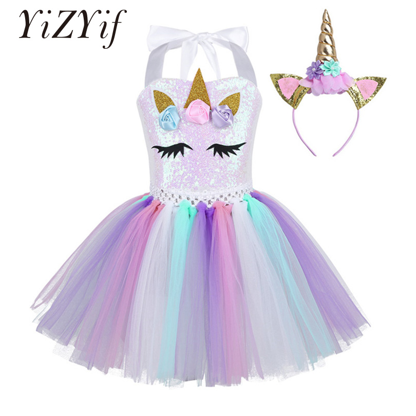Kids Girls Cartoon Outfit Halter Neck 3D Flowers Shiny Sequins  Mesh Tutu Dress with Hair Hoop Halloween Cosplay Party Costume