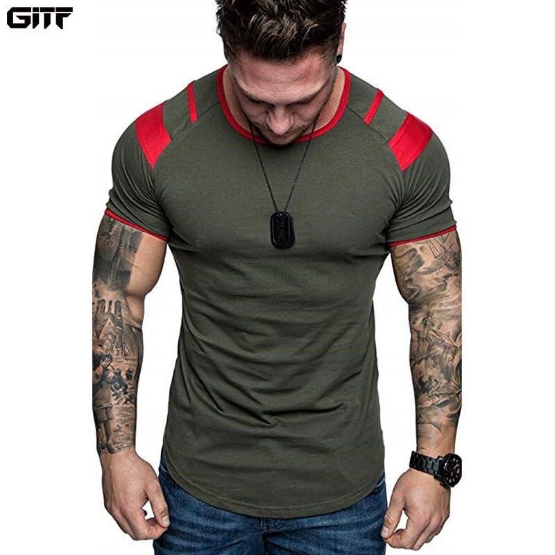 GITF hommes en cours d'exécution respirant t-shirt Gym Fitness entraînement à manches courtes T-shirts homme Jogging mince séchage rapide Tee hauts homme