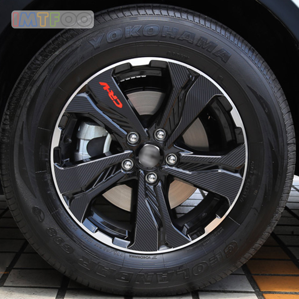(235/65 R17) 4X CARBON FIBER TEXTURE WHEEL RIM DECAL BODY STICKERS FOR HONDA CR-V CRV 2017 2018 ACCESSORIES CAR-STYLING