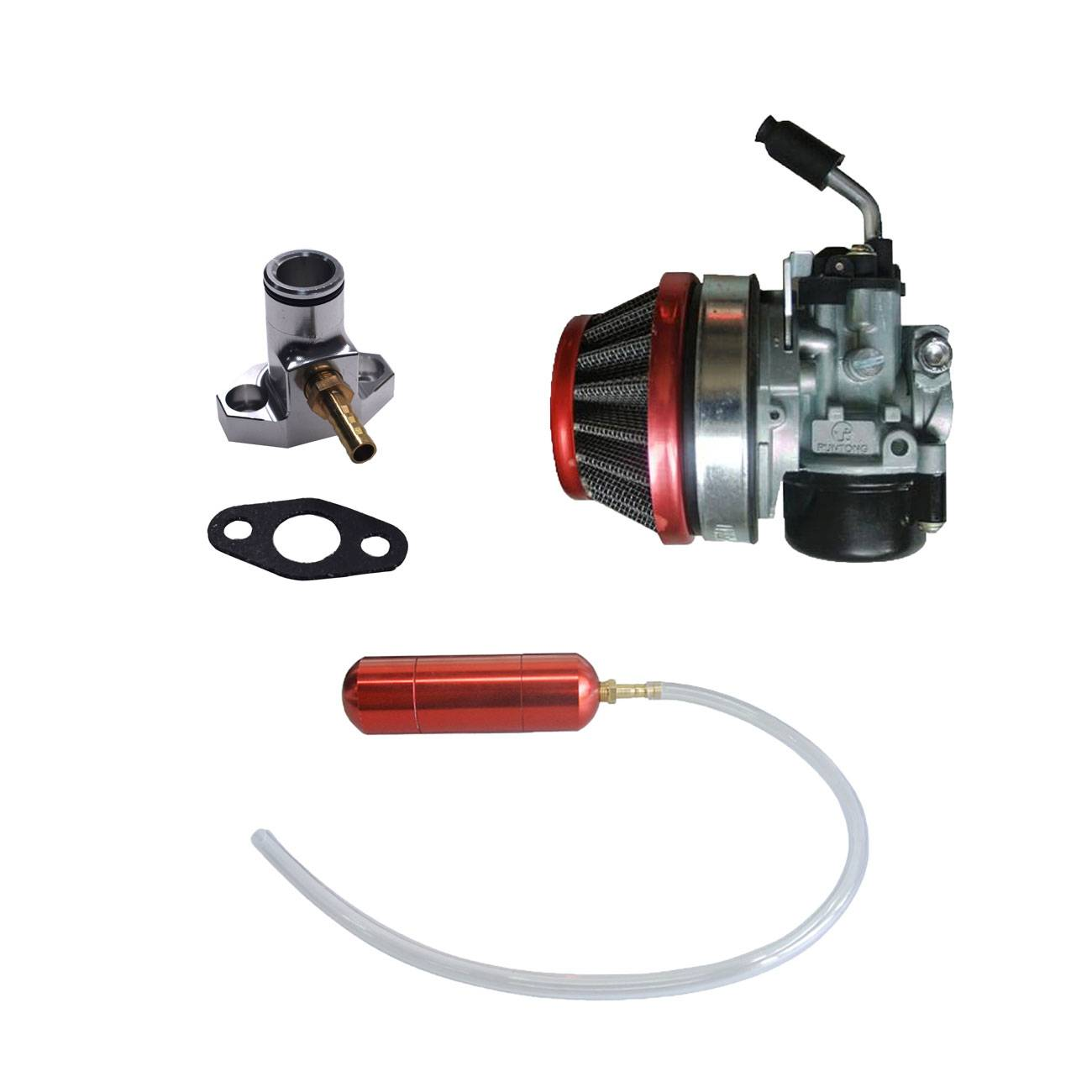 Red Gas Power Boost Bottle&Carburetor Fits 66cc 80cc Motorized Bicycle Engine