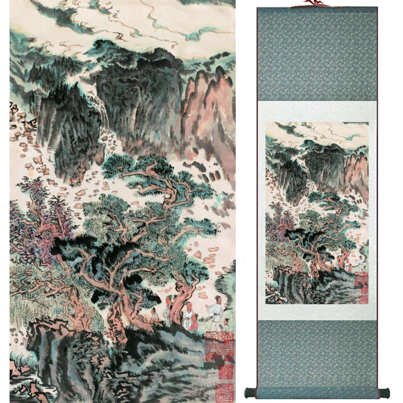 landscape painting Home Office Decoration Chinese scroll painting mountain and River paintingPrinted painting060506