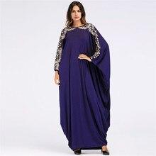 Sequined Long Navy Blue Muslim Fashion Hijab Dress Bat Sleeves Embroidered Islam Turkey Abaya Caftan Marocain Maxi Arabic Robe