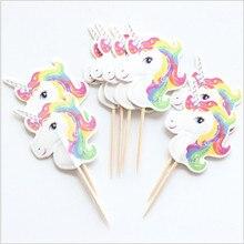 24 יח\חבילה Unicorn להוסיף עוגת יום הולדת עוגת פירות קיסם להכניס מסיבת חתונת אספקת קישוט