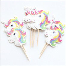 24pcs/lot Unicorn Cake Insert Birthday Cake Fruit Toothpick Insert Wedding Party Decoration Supplies
