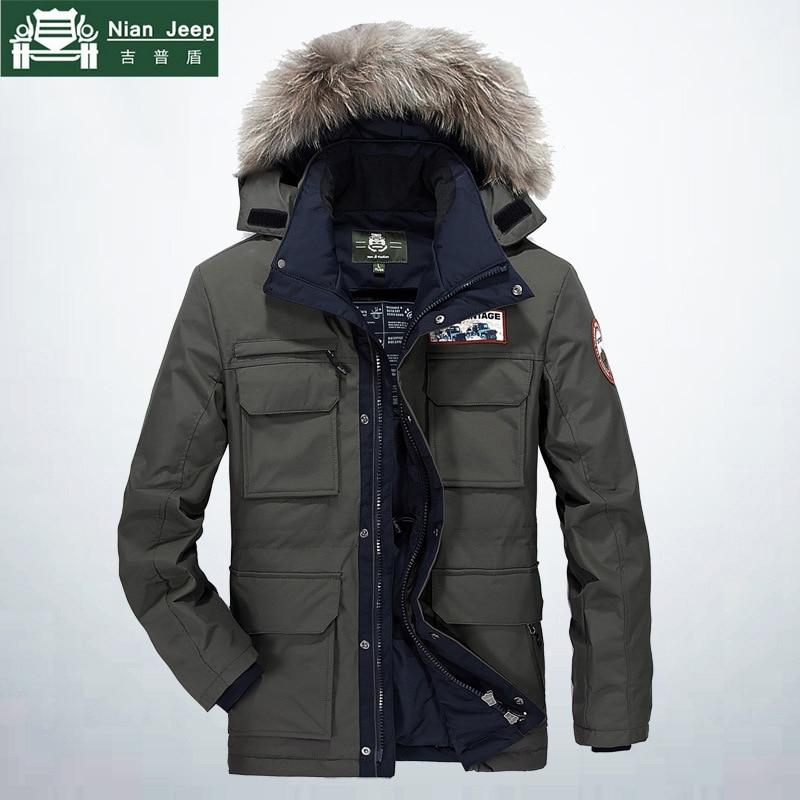 AFS JEEP D'hiver Veste Hommes Haute Qualité Épais Coupe-Vent Hoodies Parka Chaud Multi-poche col De Fourrure Hommes Manteaux Plus taille M-4XL