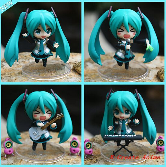 ФОТО Free shipping 5set (4pcs/set) Q version Hatsune Miku play guitar pvc figure doll tall 12cm.5set music Hatsune Miku hot sell