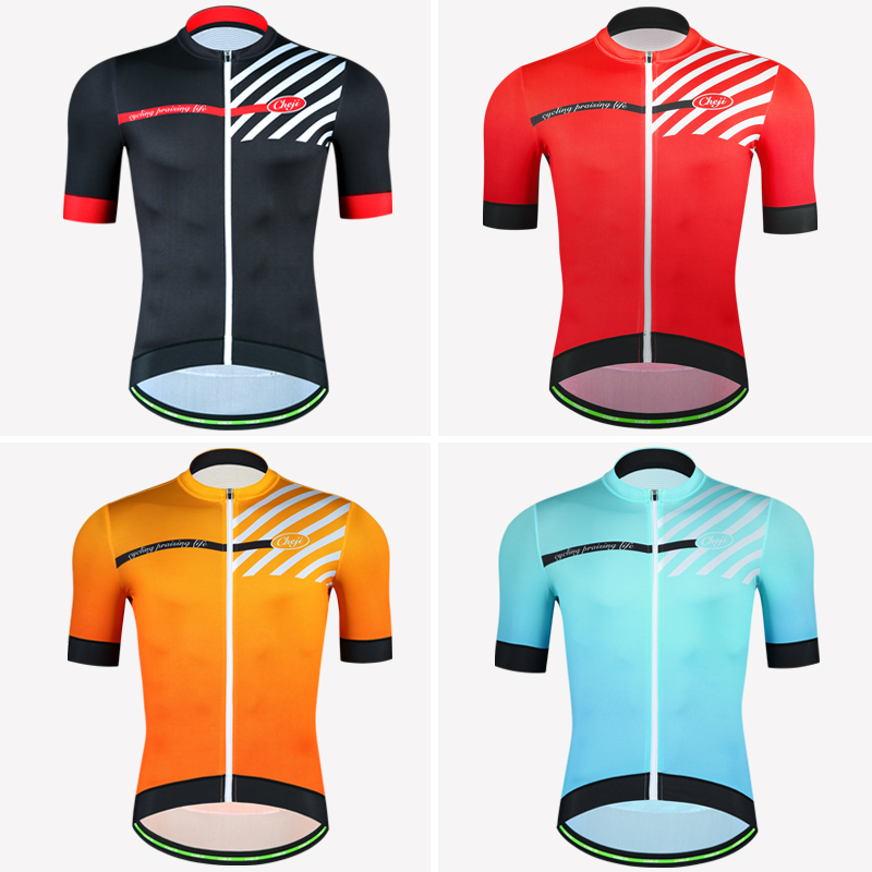 CHEJI 2018 MTB Road Bike Jersey Men Top Quality YKK zipper Black Red Orange Blue Short Sleeve Cycling Clothing Bicycle Shirt