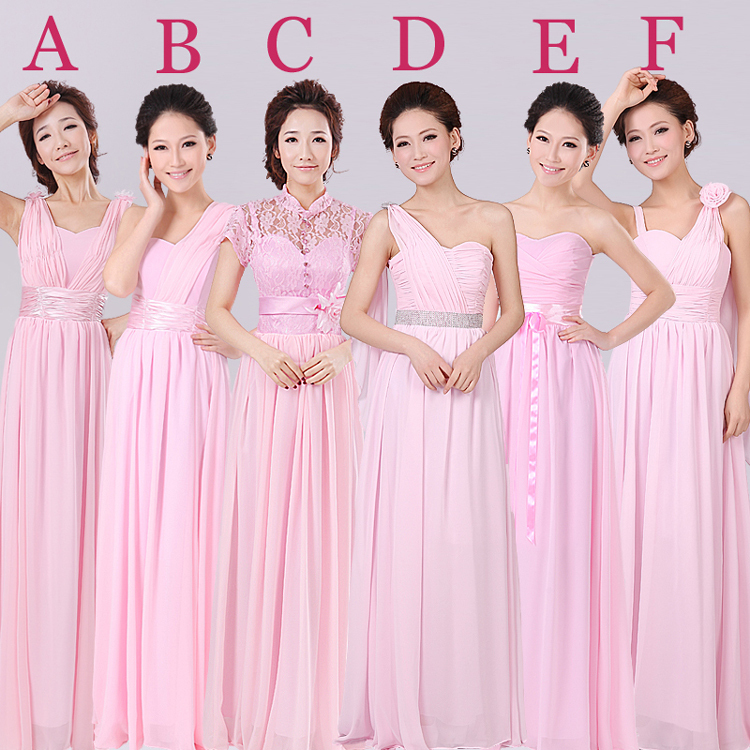 Online Shop Free Shipping 6 Designs Pink Bridesmaid Dress Long Chiffon Wedding Party Guest Dresses Brides Maid Wear XS XXL Plus Size SD364