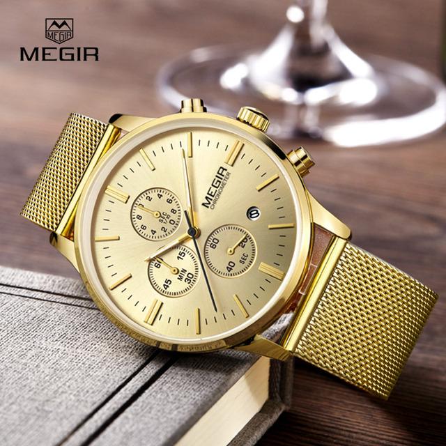 MEGIR relógios de quartzo dos homens de negócios de moda casual de malha de aço inoxidável banda relógio de pulso homem luminosa relógio vestido para o sexo masculino 2011G
