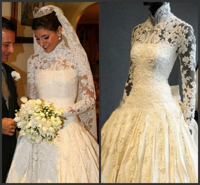 Real Sample Glamorous High Neck Long Sleeve Imperial Wedding Dresses ...