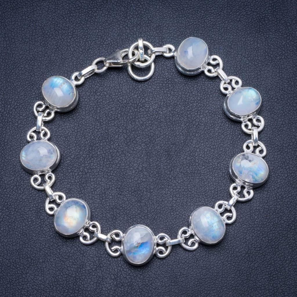 Natural Rainbow Moonstone Handmade Unique 925 Sterling Silver Bracelet 7-7 1/2 Y1307Natural Rainbow Moonstone Handmade Unique 925 Sterling Silver Bracelet 7-7 1/2 Y1307