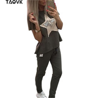 TAOVK Summer Women Casual Suits Short Sleeve T Shirt And Pant 2 Piece Set