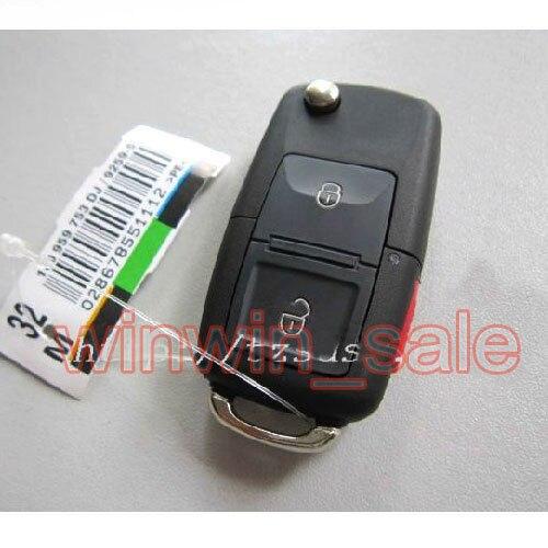 BBQ@FUKA 2 Buttons + Panic Blank Flip Remote Fob Key Shell Case Fit For VW Jetta Golf Passat