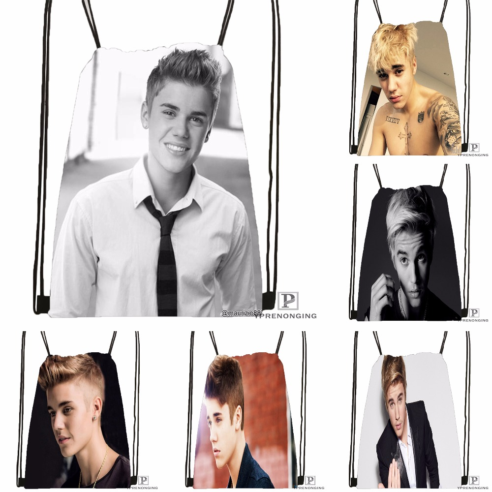 Custom Justin Bieber Drawstring Backpack Bag Cute Daypack Kids Satchel (Black Back) 31x40cm#180531-03-63