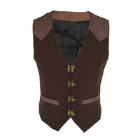Brown V Neck Sleeveless Outwear Medieval Vest Vintage Waistcoat Steampunk Jacket Gothic Clothing Men Victorian Coat Plus Size