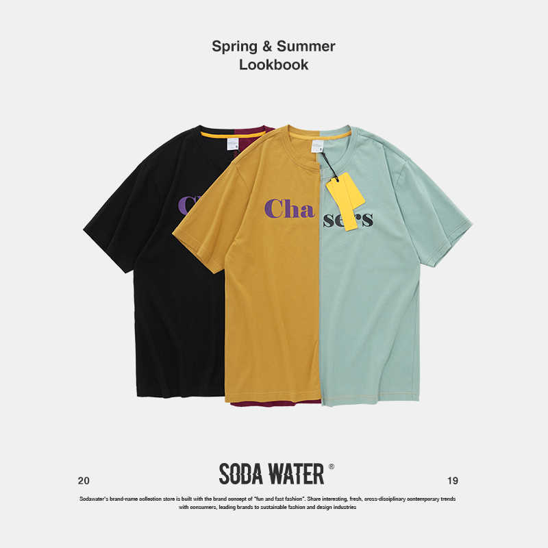 SODA WATER Patchowrk Katoenen T-shirt Heren Hip Hop Rock Swag T-shirt Casual T-shirts Harajuku Top Tees Paar T-shirt 91199 S