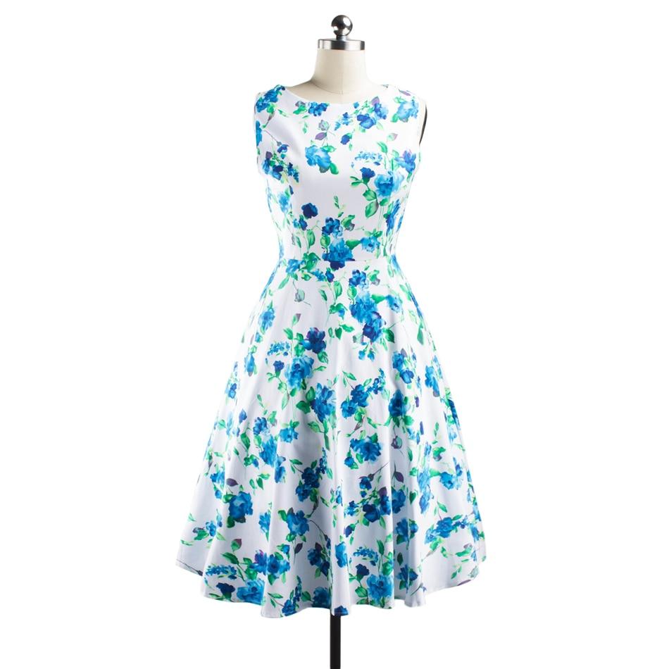 LERFEY Retro Vintage Dress 1950s 60s Rockabilly Floral Swing Casual ...