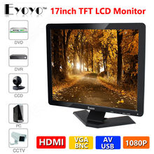 "Eyoyo 17"" Widescreen Ultra HD TFT LCD CCTV Monitor BNC/VGA/AV/HDMI/USB Input Display Free Shipping"