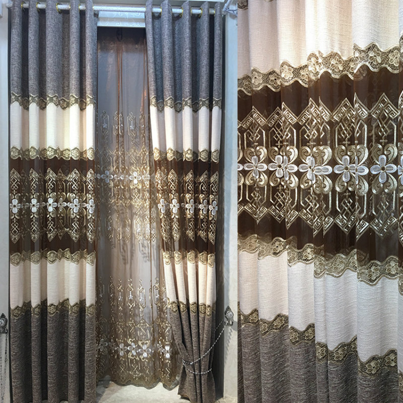 High quality European linen embroidered curtains living room bedroom luxury sun hat custom chiffon curtain treatment