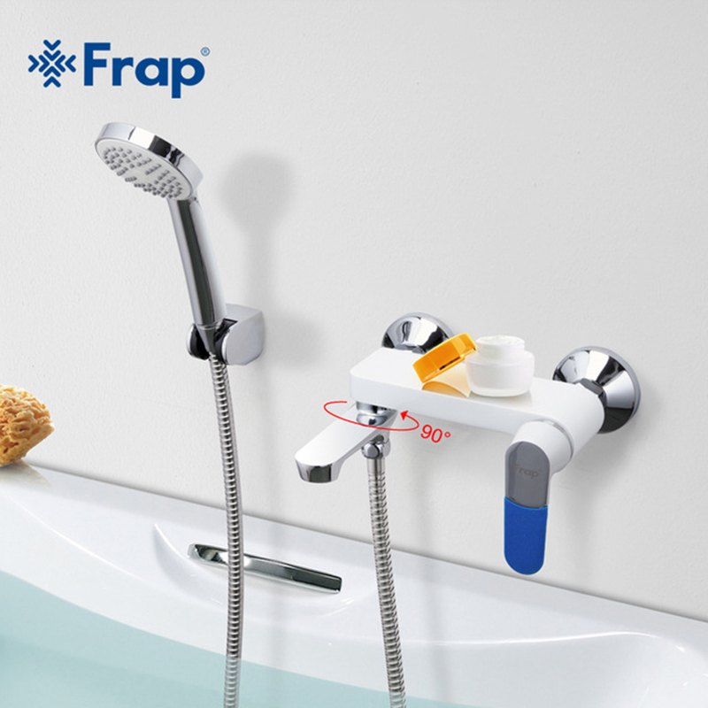 Frap Bathroom Faucet Wall Mounted Cold and Hot Water Mixer Rotatable Tap 5 Color Handle Cover Choices As a Present F3234