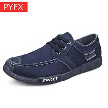 Fall 2019 New Fashion Mens Canvas Washing Fabric Leisure Flat Bottom Blue  lace-up Anti-skid Wear-resistant Shoes discount