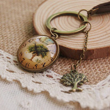 Vintage Tree of Life Angel Cupid Key Chain Handmade Personalized Glass Clock Print Keychains Leather Key Chain Hand Jewelry K002