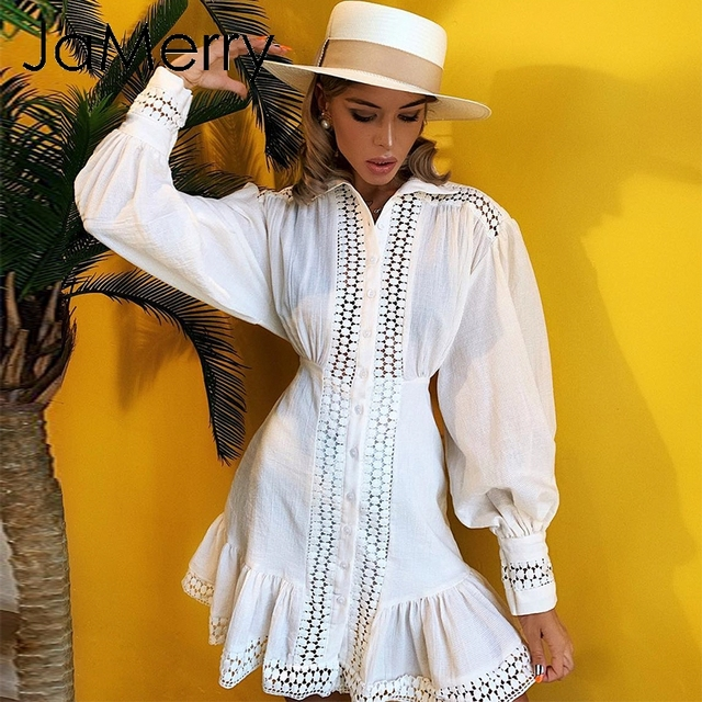 JaMerry Vintage ruffle mini white lace cotton dress Elegant lantern sleeve hollow out highstreet short dress Autumn chic dresses