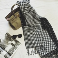 190 70cm European And American Style Black And White Houndstooth Cashmere Warm Thick Long Section Women