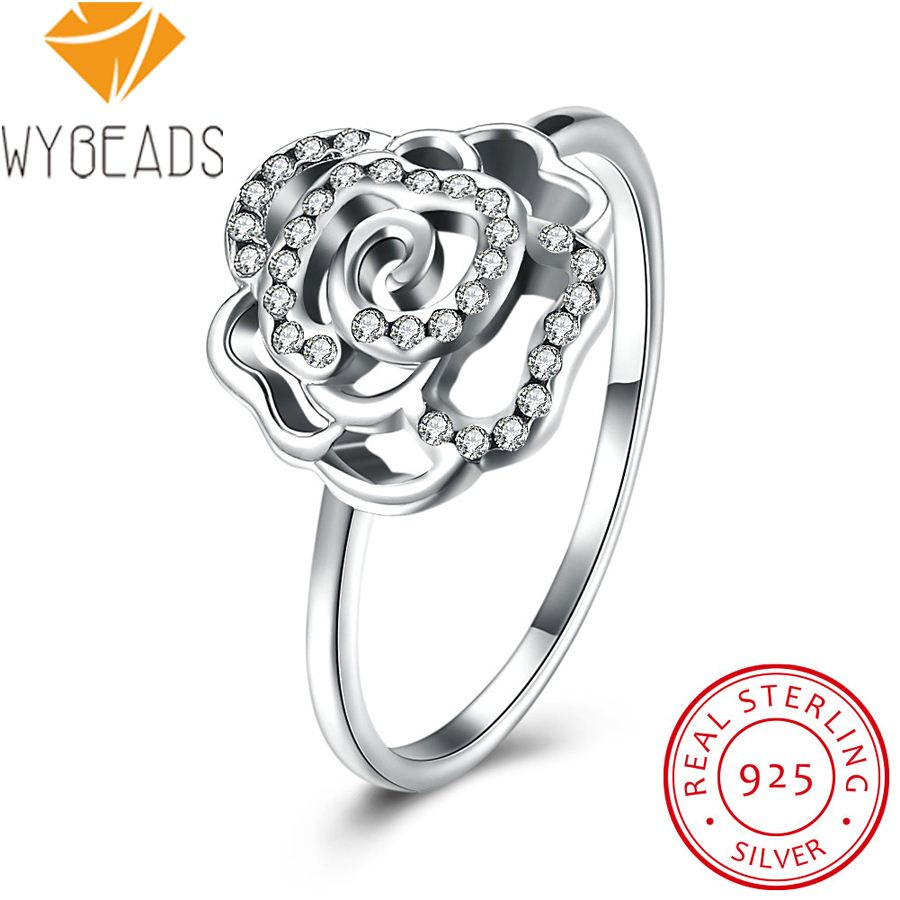 WYBEADS 925 Sterling Silver Shimmering Rose Flower Rings Delicate Clear CZ Finger Ring For Women Female Wedding Fashion Jewelry