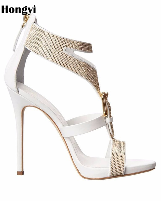 672a26d6 Zapatos de diseño Hongyi para mujer, sandalias de gladiador con piedras  preciosas de lujo,