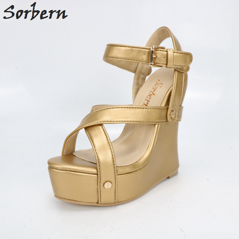 b502b1df63f Sorbern Gold Real Photo Red Sandal Women Strange Style Wedge High Heel Shoes  Party Sandal Ankle