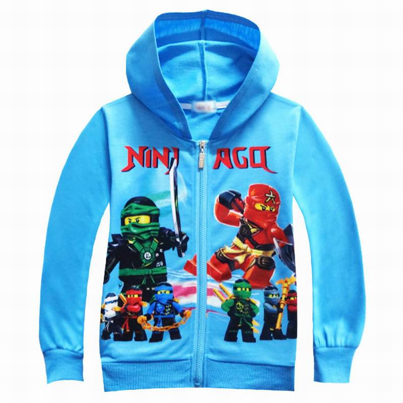 Blue Boys Hoodies Spring Autumn Zipper Boys Sweatshirts Legoo Ninjago Long-sleeved T-shirts Tops Outwears Teenagers Boy Hoodies hoodies
