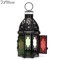 KiWarm Retro Moroccan Glass Metal Garden Candle Holder Hanging Lantern Crafts Home Wedding Shop Decor Birthday
