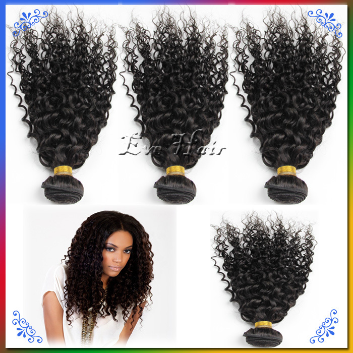 Queen Brazilian Kinky Afro Curly Hair Virgin Hair Weave Bundles 4