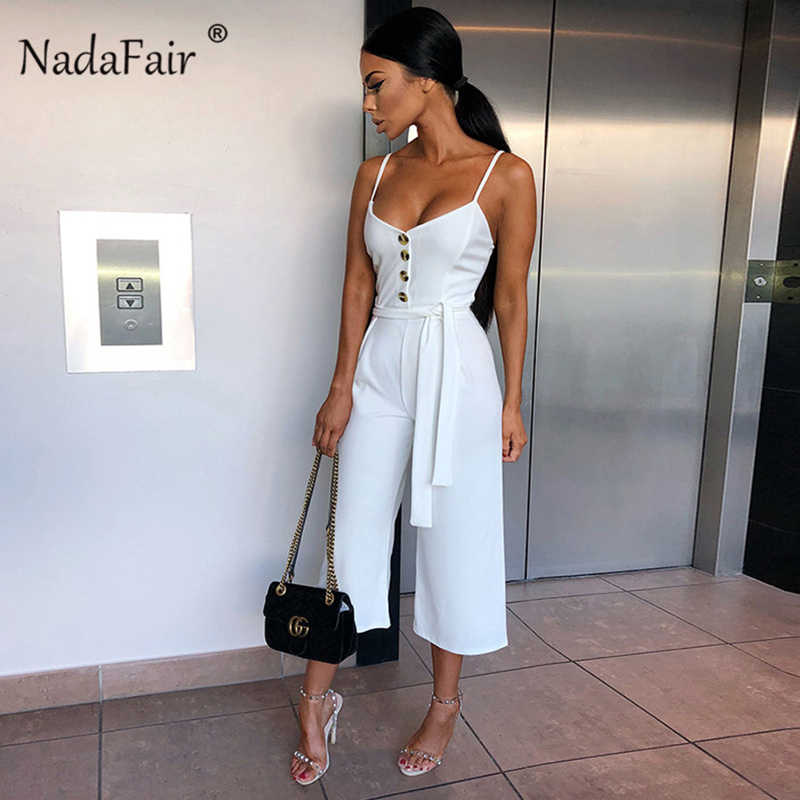 81eabf6dde02 Nadafair verano trajes Sexy mujeres monos elegante cinturón venda botones  de pierna ancha Casual pantalón Mono Blanco Plus tamaño