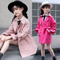 Girls Coat Long Cotton New British Princess Long Sleeve Trench Coat
