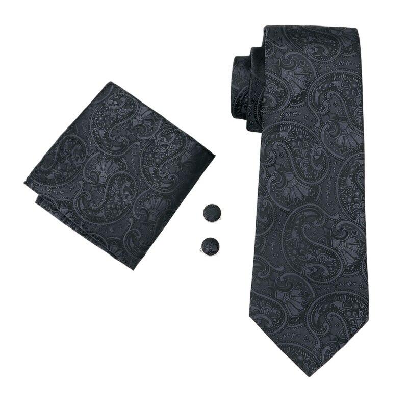 LS-1494 Barry.Wang Classic Men`s Tie 100% Silk Black Paisley Necktie Hanky Cufflink Set For Men`s Wedding Party Business