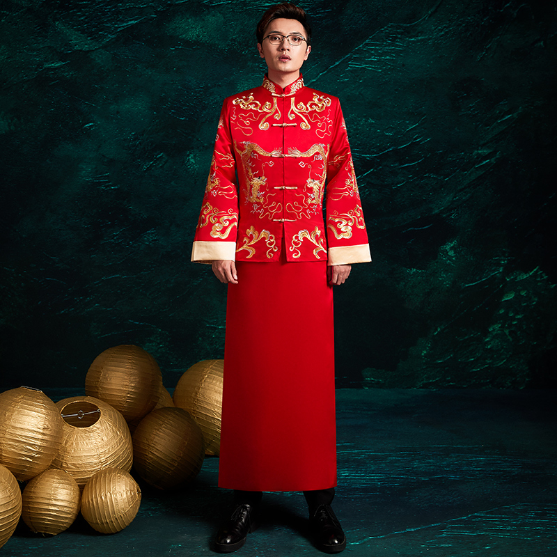 Embroidery Dragon Men Cheongsam Chinese Style Bridegroom Wedding Clothes Traditional Coat Robe Male Tang Suit Toast