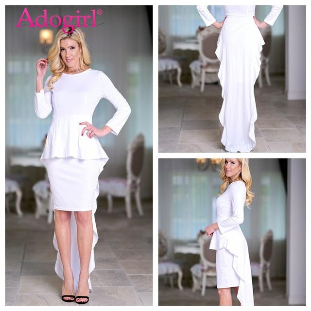 Adogirl Elegant Solid White Long Sleeve Midi Peplum Dress Slim Patchwork  Formal Evening Party Dresses Ladies Office Work Wear 30e61947e6dc